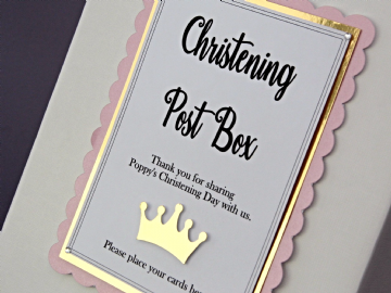 Pink & Gold Christening Card Postbox Sign -